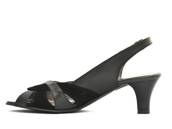 sandale negre cu toc mic din piele naturala