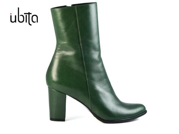 Botine verzi dama cu toc mediu gros din piele naturala la comanda VG0150-Skyla