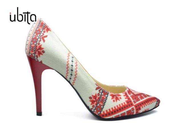 Pantofi dama cu imprimeu traditional romanesc la comanda FFC0017-Harlee