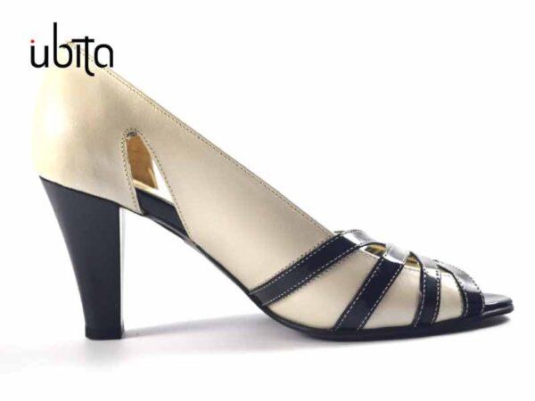 Pantofi dama crem cu negru decupati in fata si cu toc mediu din piele la comanda V0655-Alice