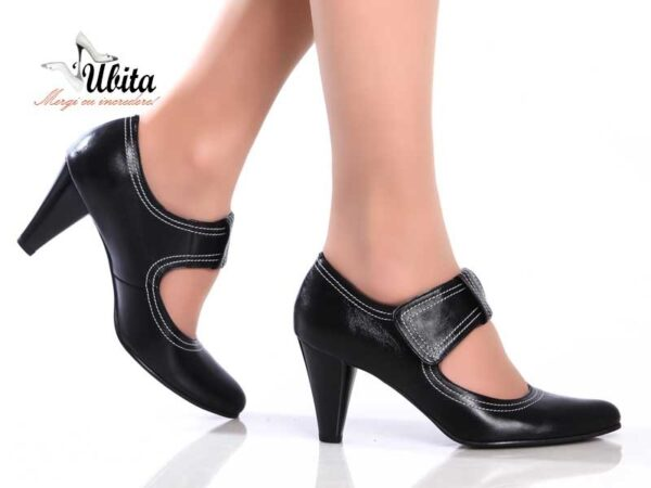 Pantofi office dama negri din piele naturala la comanda V0523-Eve