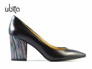 Pantofi dama cu toc gros din piele naturala neagra pe comanda F0008-Keyla