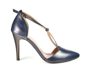 Pantofi decupati cu bareta in X din piele naturala bleumarin pe comanda F0019-Nayeli