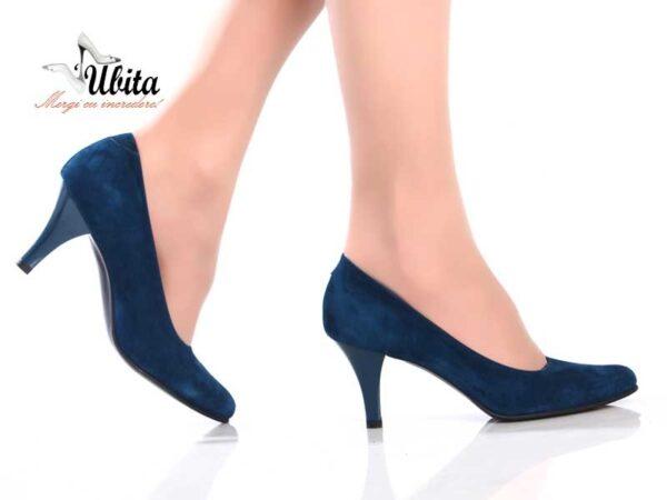 Pantofi dama albastri din piele naturala la comanda