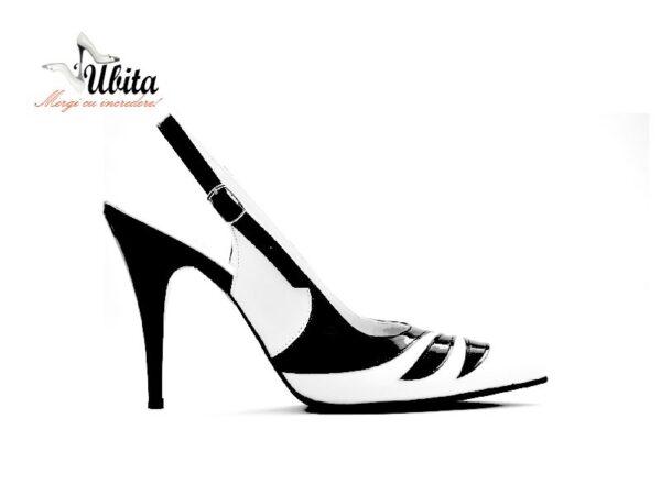 Pantofi dama Stiletto alb cu negru cu bareta la spate pe comandaV0633-Anna