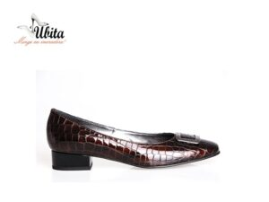 Pantofi cu toc mic dama maro din piele naturala la comanda F0241-Gia