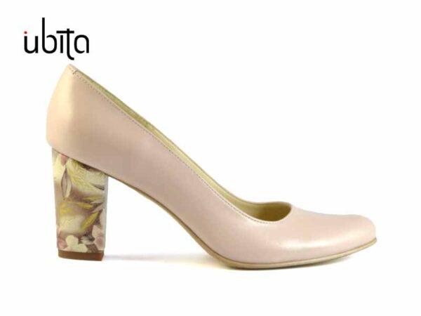 Pantofi cu toc dama nude din piele naturala la comanda V0373-Leyla