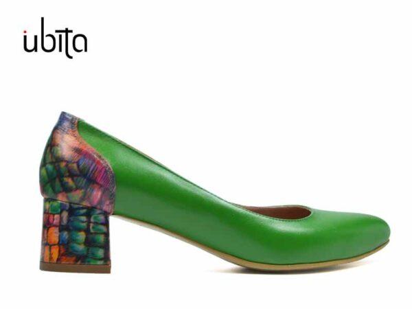 Pantofi verzi dama cu toc mic gros din piele naturala pe comanda F0005-Hattie
