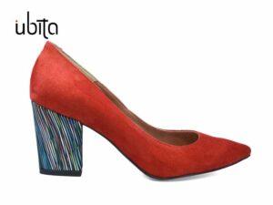 Pantofi rosii dama din piele intoarsa naturala cu toc gros imbracat in piele la comanda F0008-Jayden