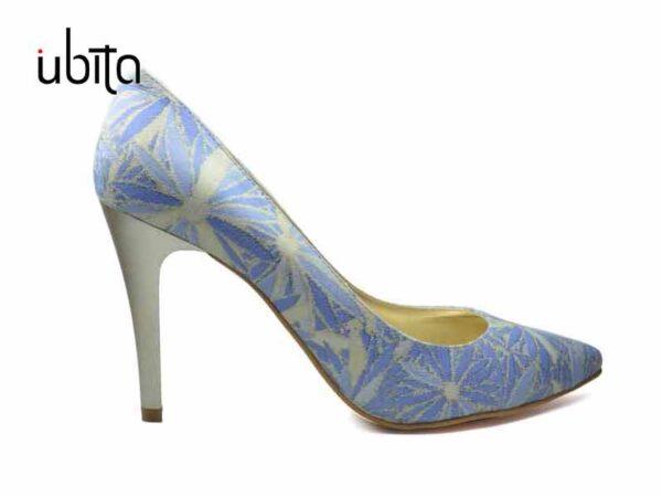 Pantofi albastru stiletto dama din piele naturala la comanda FFC0011-Gracie