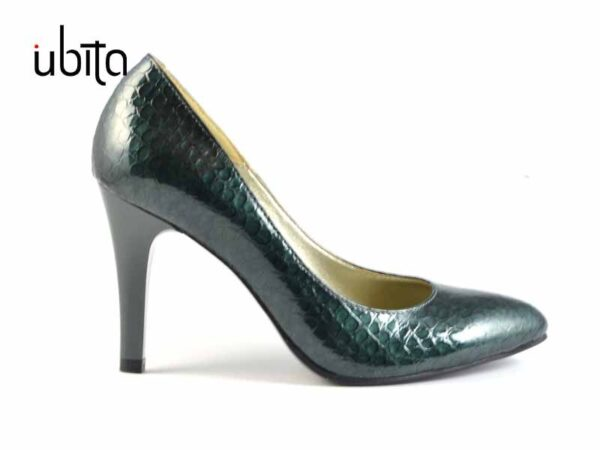 Pantofi lac croco verde dama piele naturala la comanda V0269-Kelly