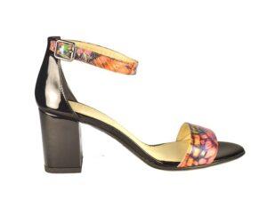 Sandale dama cu bareta peste glezna din piele naturala colorata cu imprimeu F0007-Nicole