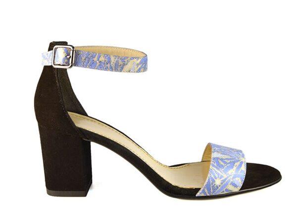 Sandale dama piele naturala albastra cu bareta peste glezna si toc mediu gros F0007-Noelle