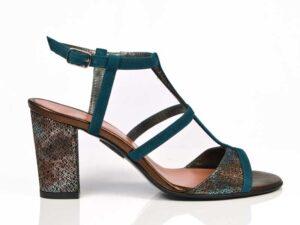 Sandale elegante verzi din piele naturala intoarsa cu toc mediu gros