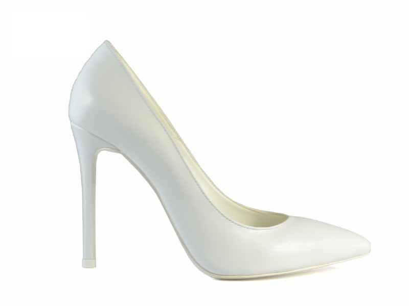 Pantofi stiletto albi de mireasa